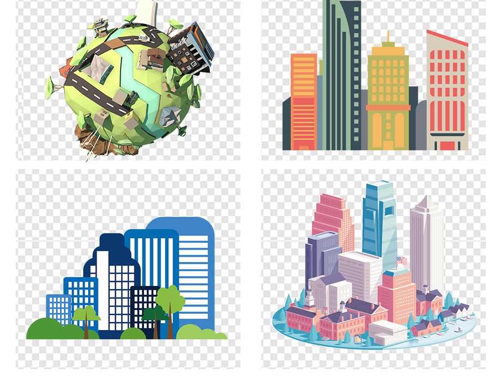 图片文明城市大城市剪影建筑效果图手绘