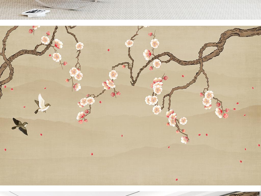 新中式梅花手绘工笔花鸟山水背景墙装饰画