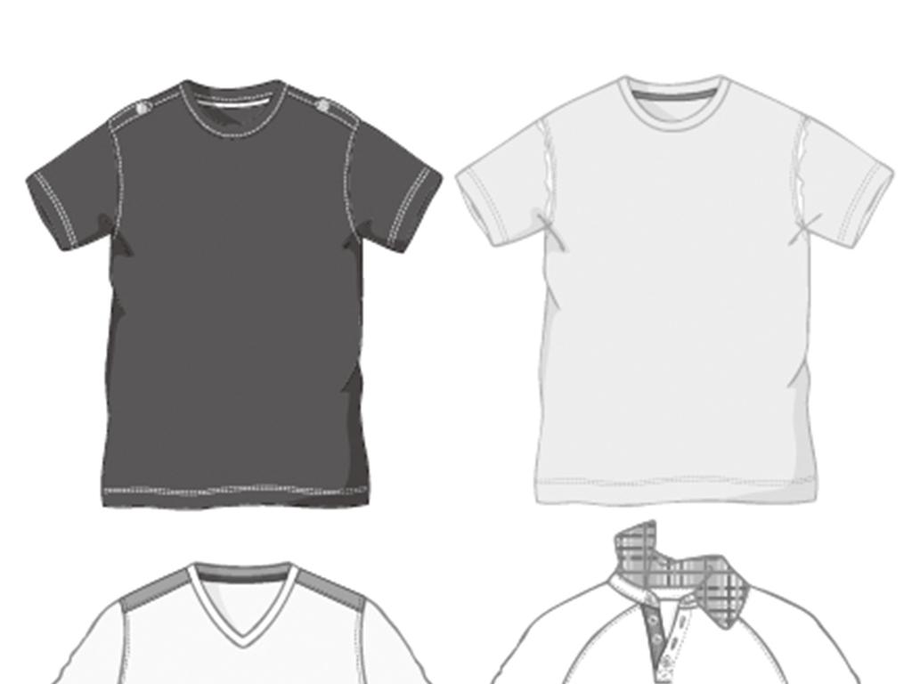 手绘男生t恤款式图矢量图