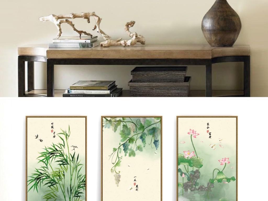 新中式手绘水彩荷花竹子素雅民俗古风装饰画