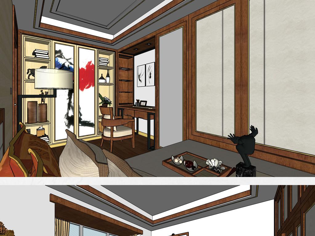 新中式风格室内设计su模型