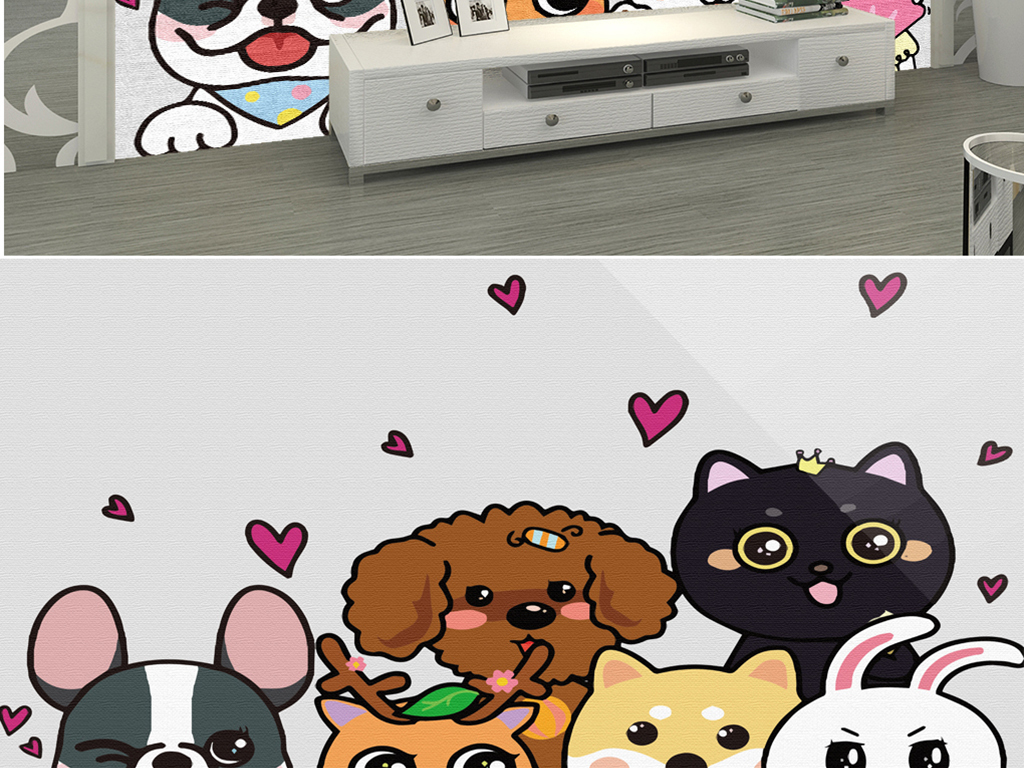 韩国手绘水彩小动物
