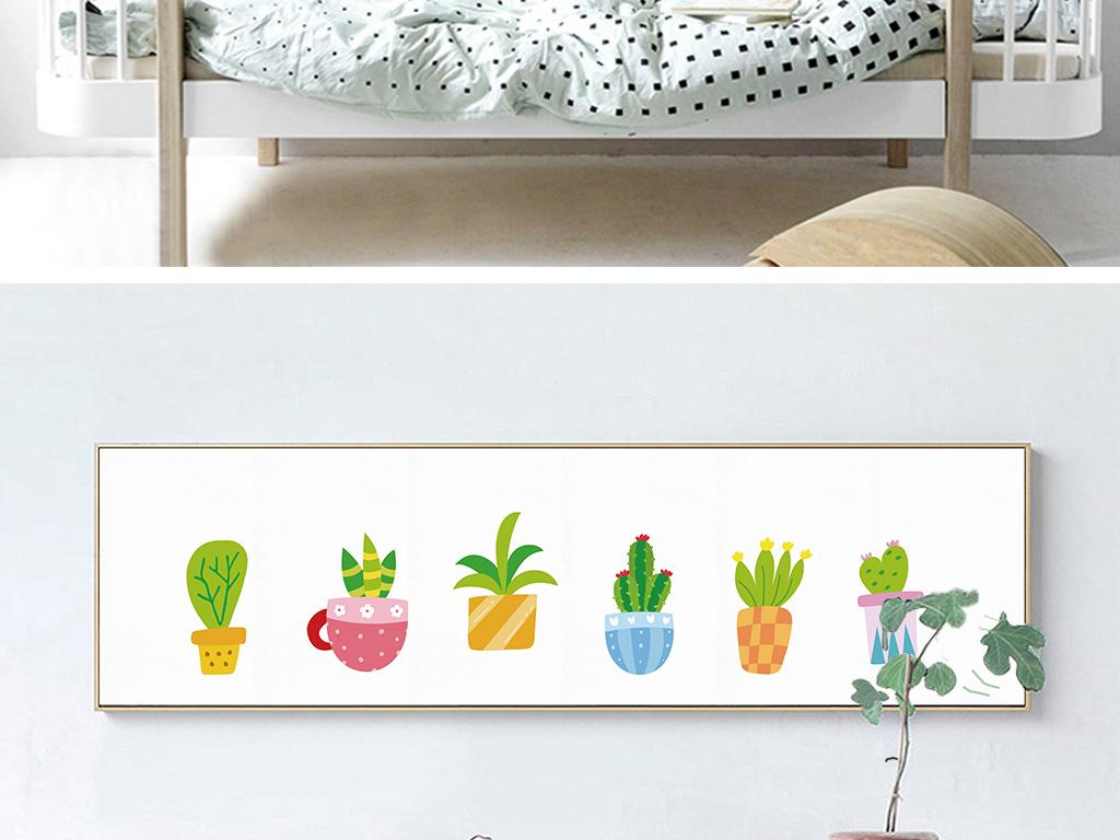 北欧ins手绘多肉植物床头装饰画