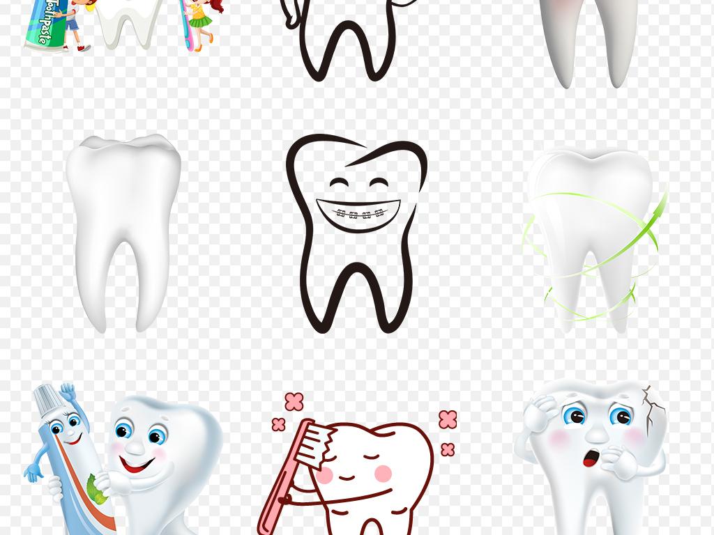 卡通牙齿保护图片牙科刷牙知识海报素材背景png