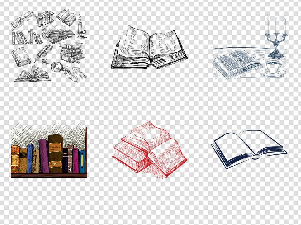 手绘素描线稿书本简笔画书本png
