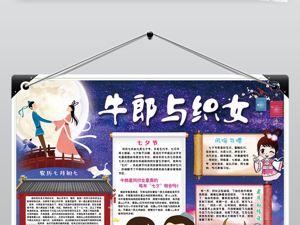 手抄报|小报 学科手抄报 历史手抄报 > 七夕节小报传统节日文化神话
