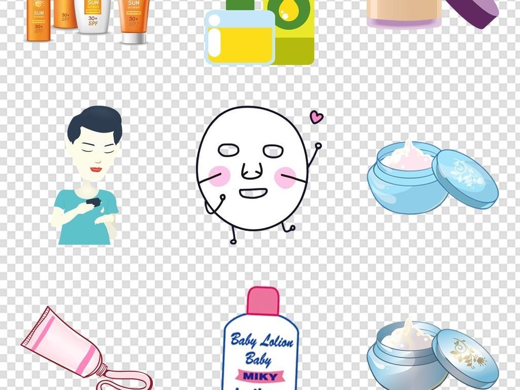 手绘卡通护肤品防晒品png免抠元素