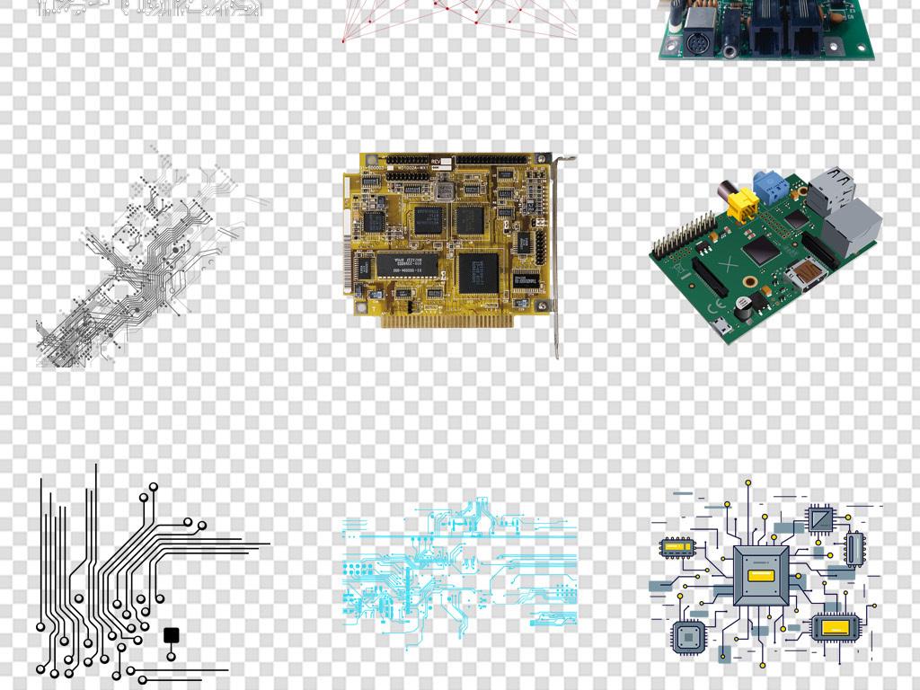 科技线条电路板海报背景免扣png