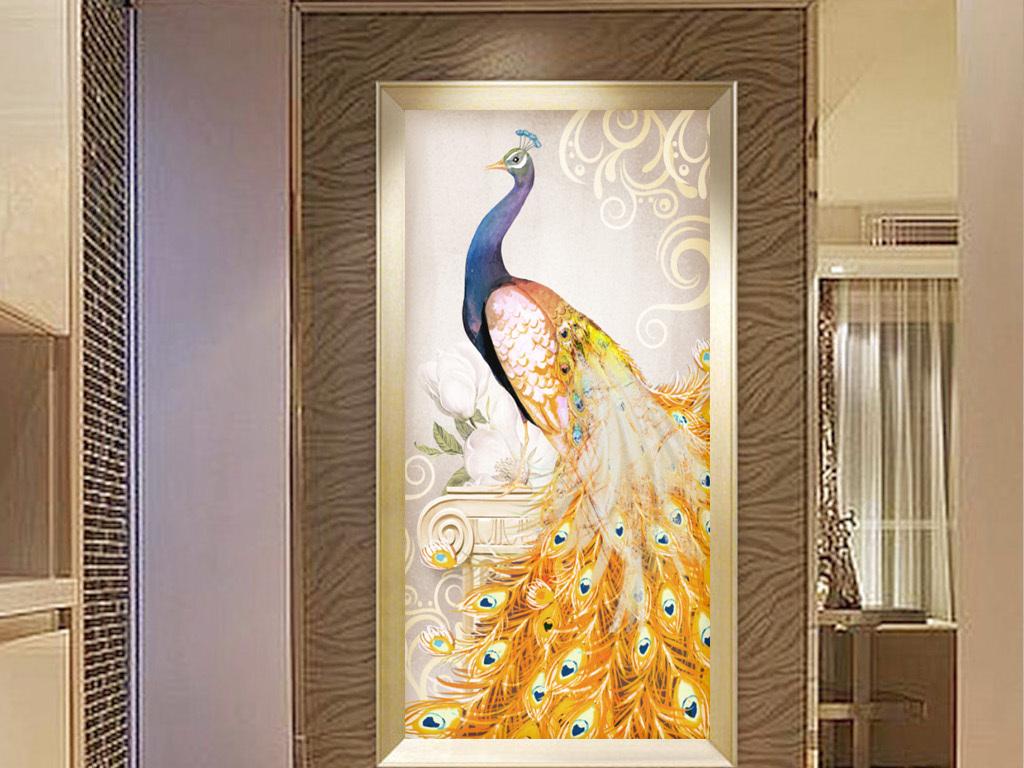 欧式抽象复古手绘金色孔雀玄关走道装饰画