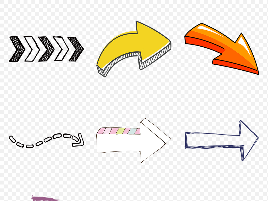 卡通手绘箭头海报素材背景png元素图片