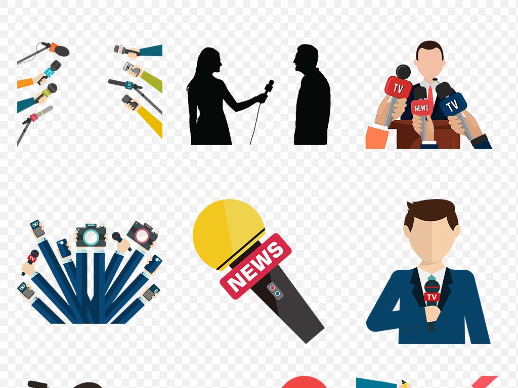 新闻采访记者麦克风卡通手绘海报素材背景图片png