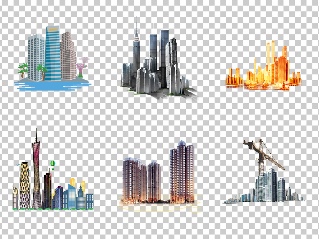 01054城市建筑高楼大厦手绘高楼建筑素材免抠