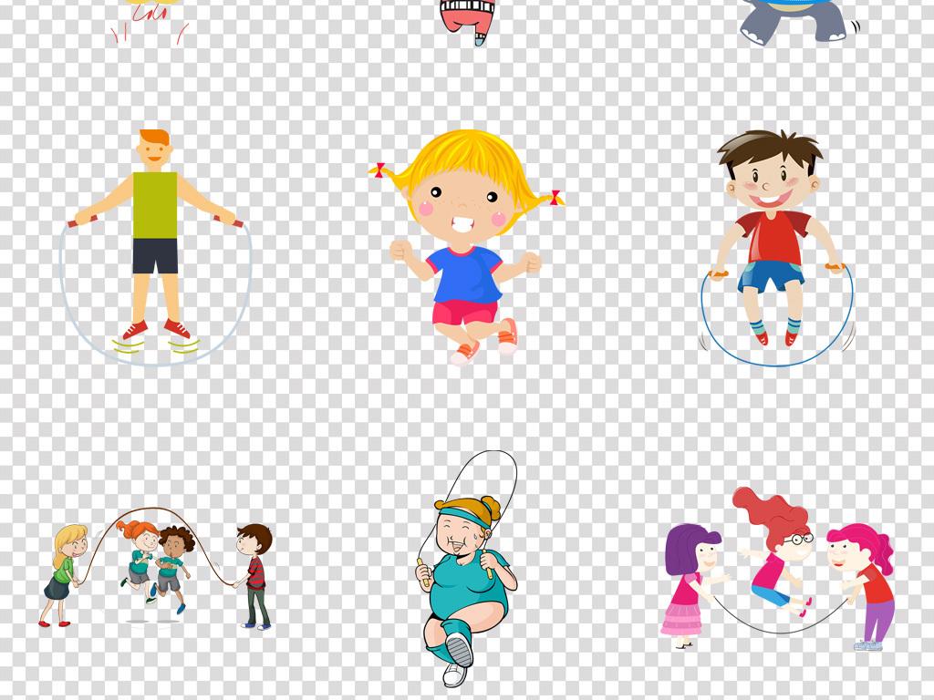 可爱卡通儿童运动跳绳海报背景png素材
