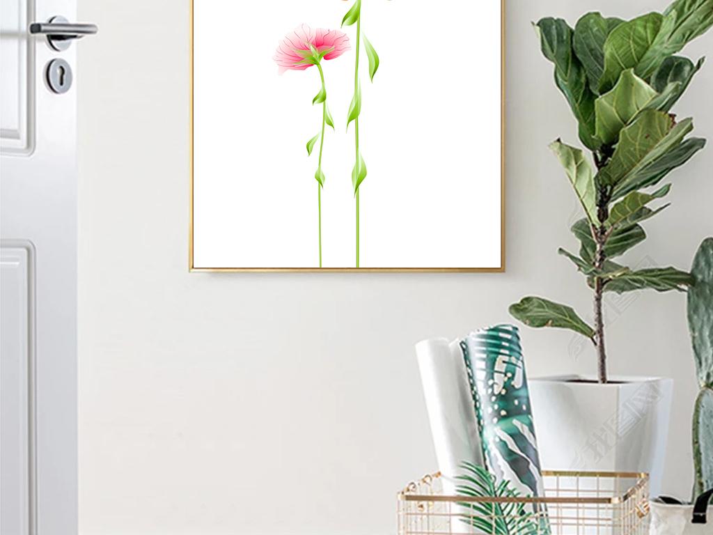 现代简约小清新北欧手绘花朵风格装饰画
