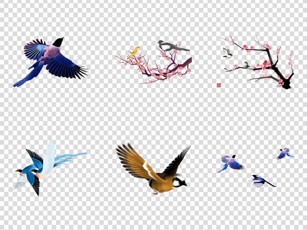 水彩手绘麻雀唯美卡通手绘工笔画素材七夕素材喜鹊工笔画花鸟情人节