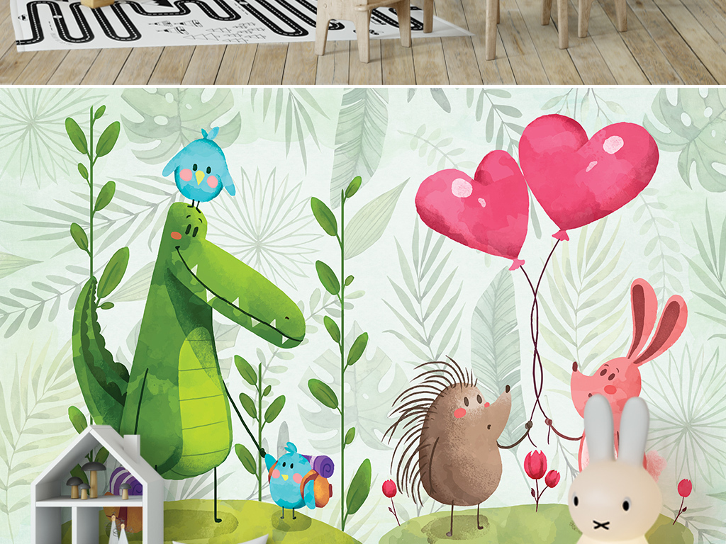 卡通森林恐龙兔子爱心气球儿童房背景墙画