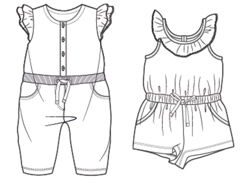 儿童连身裤背带裤款式图矢量图图片