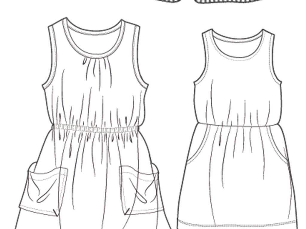 服装设计 童装设计 裤装设计 > 女童连衣裙背带裙款式图矢量图  素材