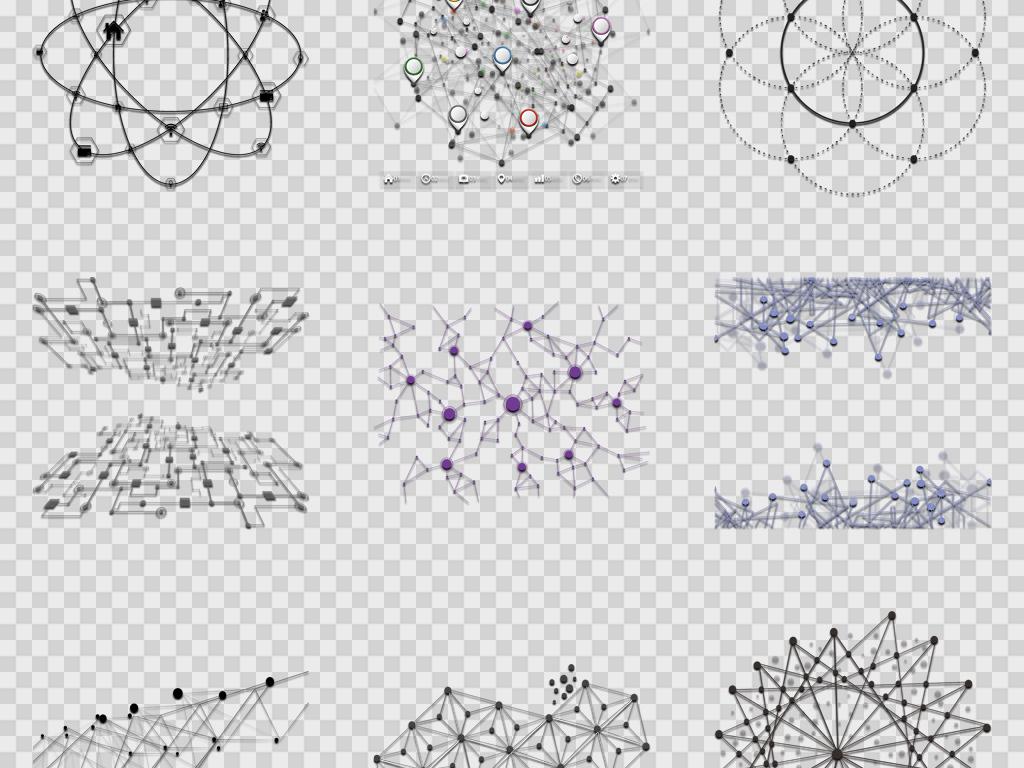 卡通手绘创意抽象点线科技背景png免扣素材图片_模板