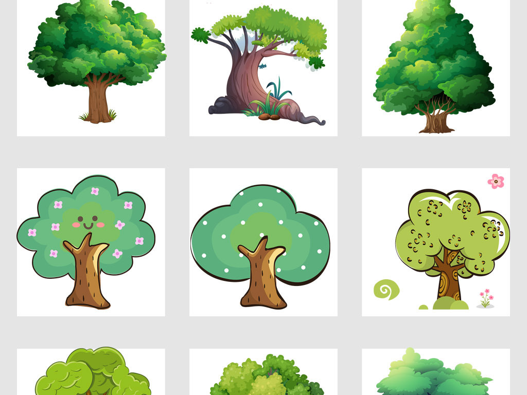 高清创意手绘抽象卡通树大树png免抠素材