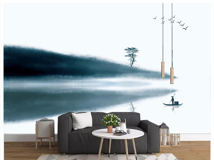 新中式水墨山水抽象蓝色靠山客厅电视背景墙