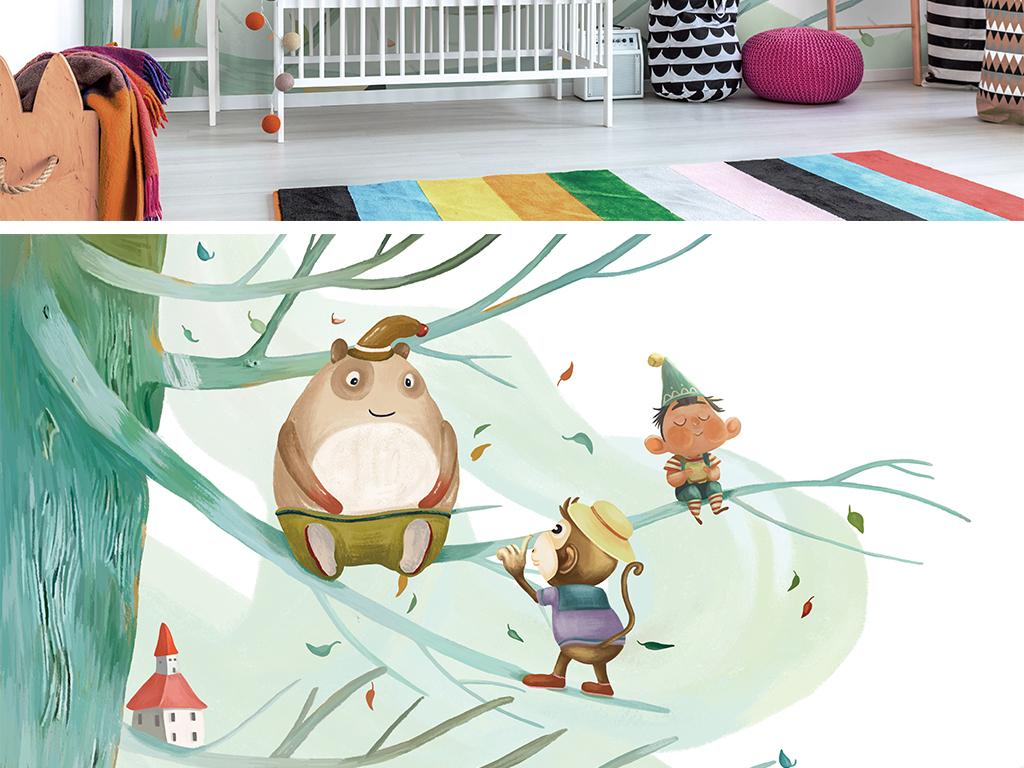 北欧现代简约手绘可爱儿童房背景墙