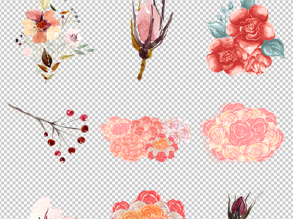 水彩手绘玫瑰花叶子小清新png免抠元素