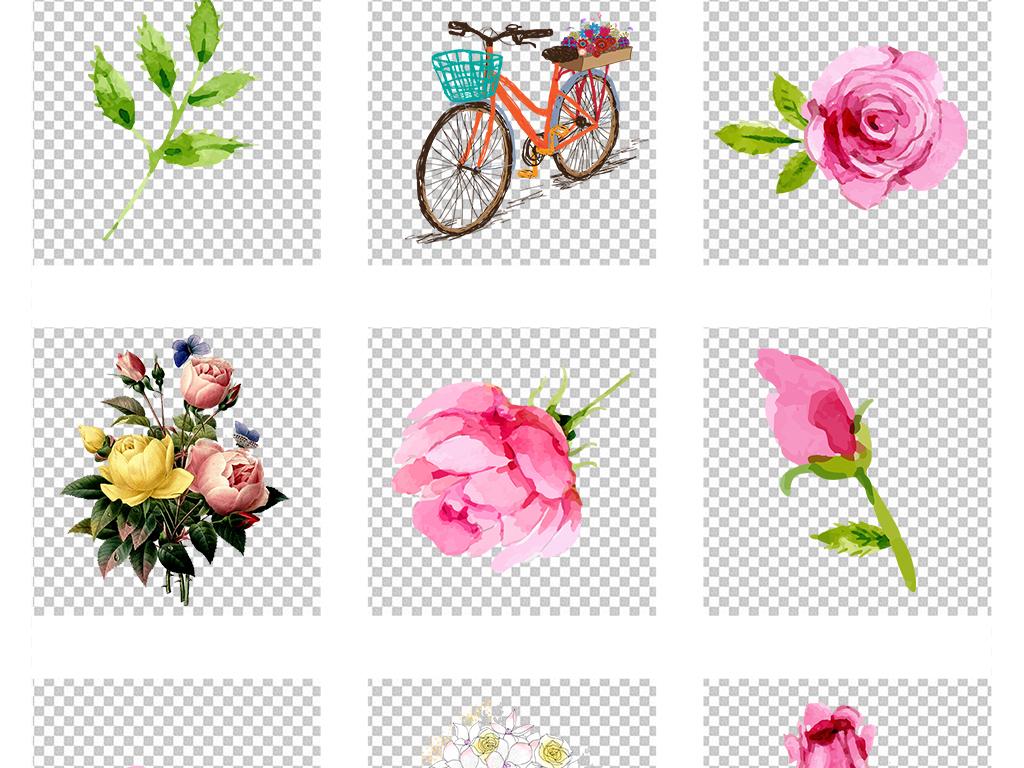 水彩手绘玫瑰花瓣叶子小清新png免抠大图