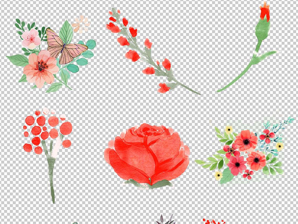 红色玫瑰红色水彩玫瑰手绘小清新装饰花