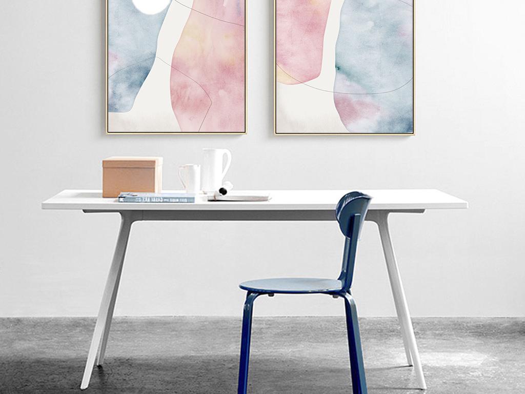 抽象手绘水彩三联装饰画