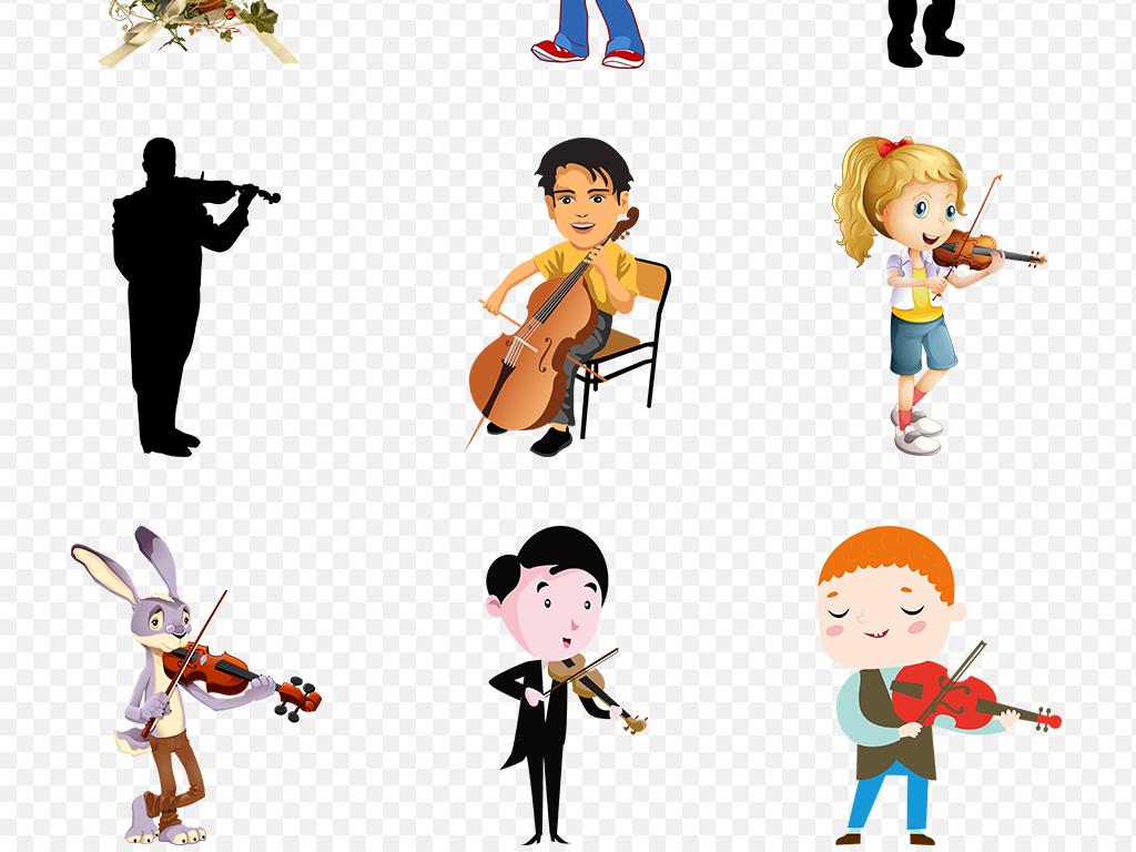卡通手绘拉小提琴音乐会培训海报素材背景图片png