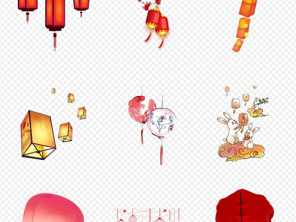 梅花灯笼手绘卡通                                          中秋