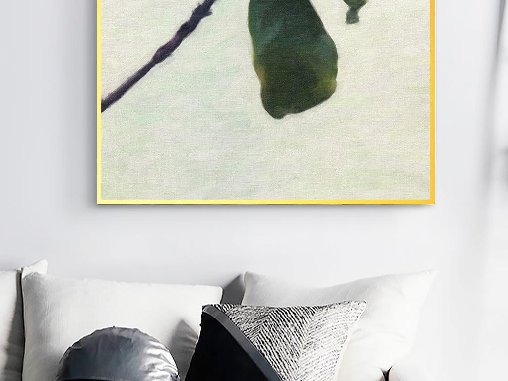 欧式复古风手绘植物田园芭蕉叶装饰画