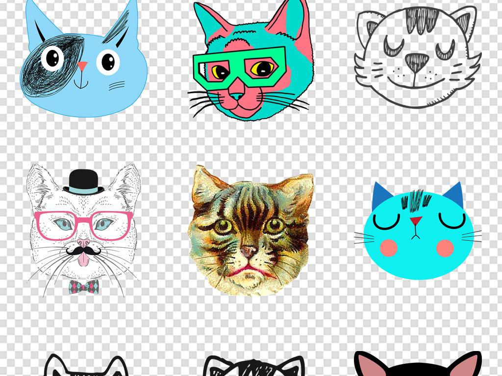 手绘宠物猫咪猫头动物海报装饰画png元素图片素材_(26