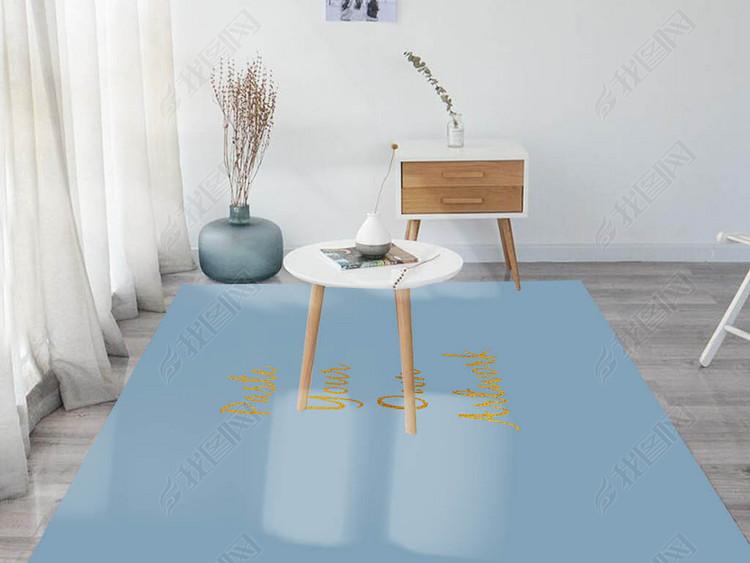 现代简约宜家客厅地毯样机场景贴图效果图(2)