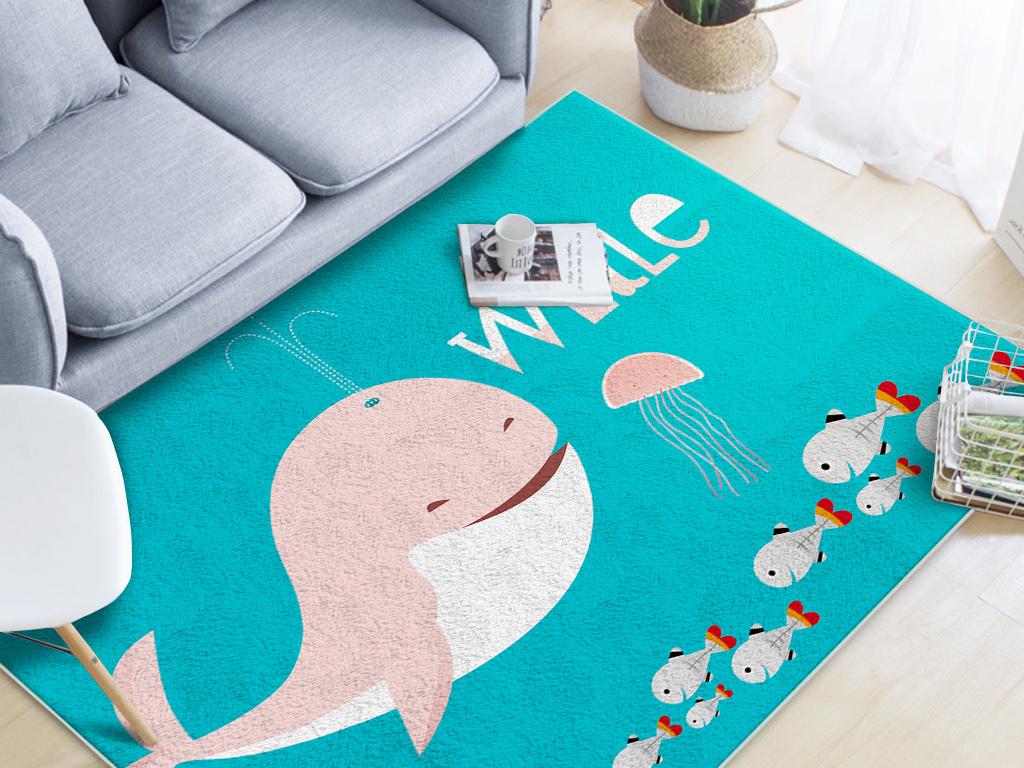 地面装饰 地毯 卡通 > 北欧手绘可爱海洋动物儿童房客厅卧室地毯