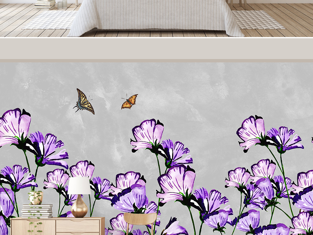 北欧简约小清新手绘紫色花朵电视背景墙
