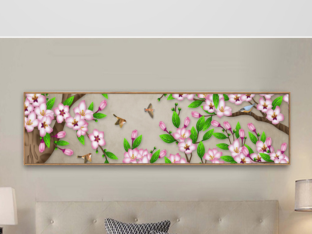 新中式手绘工笔花鸟山水床头画装饰画无框画