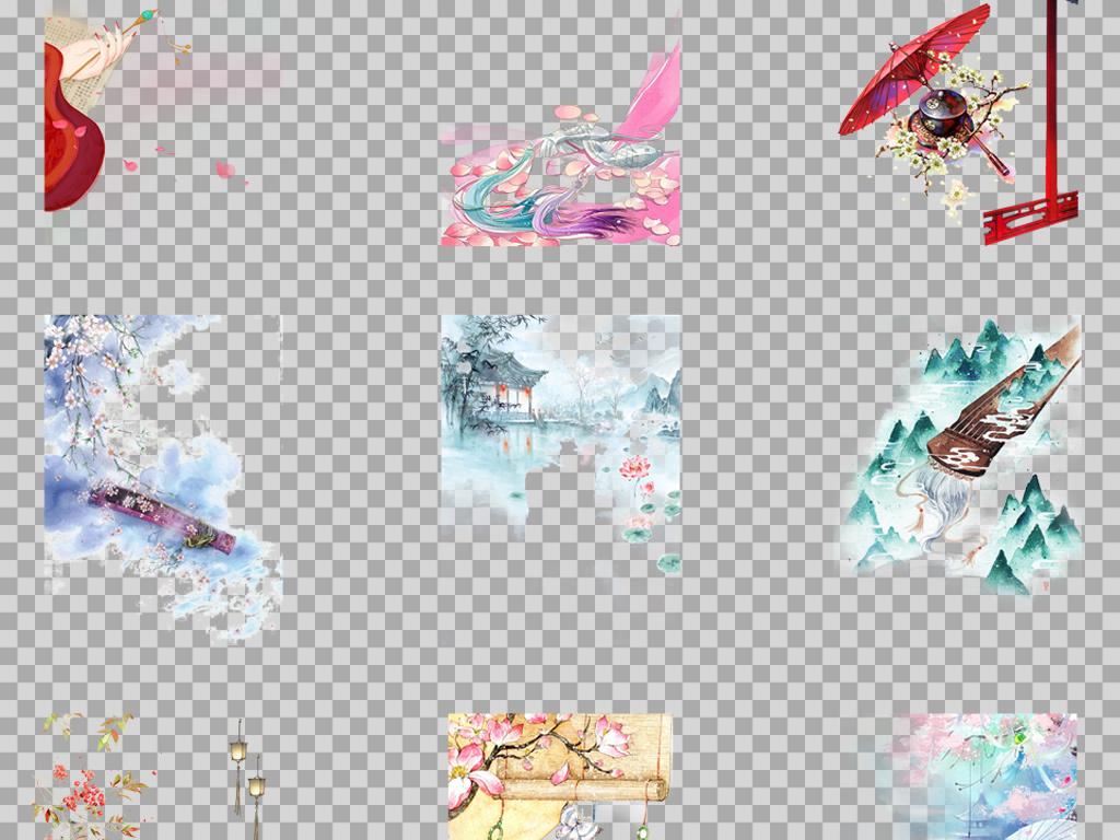 手绘水彩唯美古风工笔小品插画PNG背景素材图片 模板下载 77.25MB