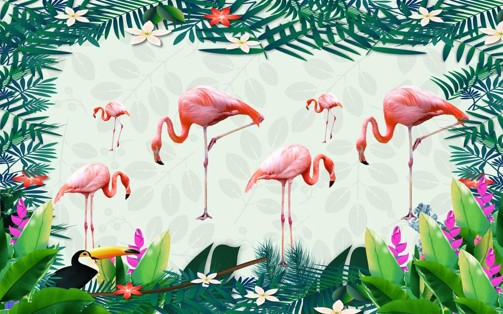 清新绿色手绘热带植物火烈鸟背景墙