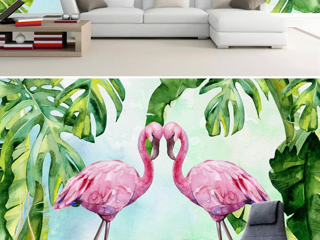手绘热带植物火烈鸟背景墙图片设计素材_高清psd模板