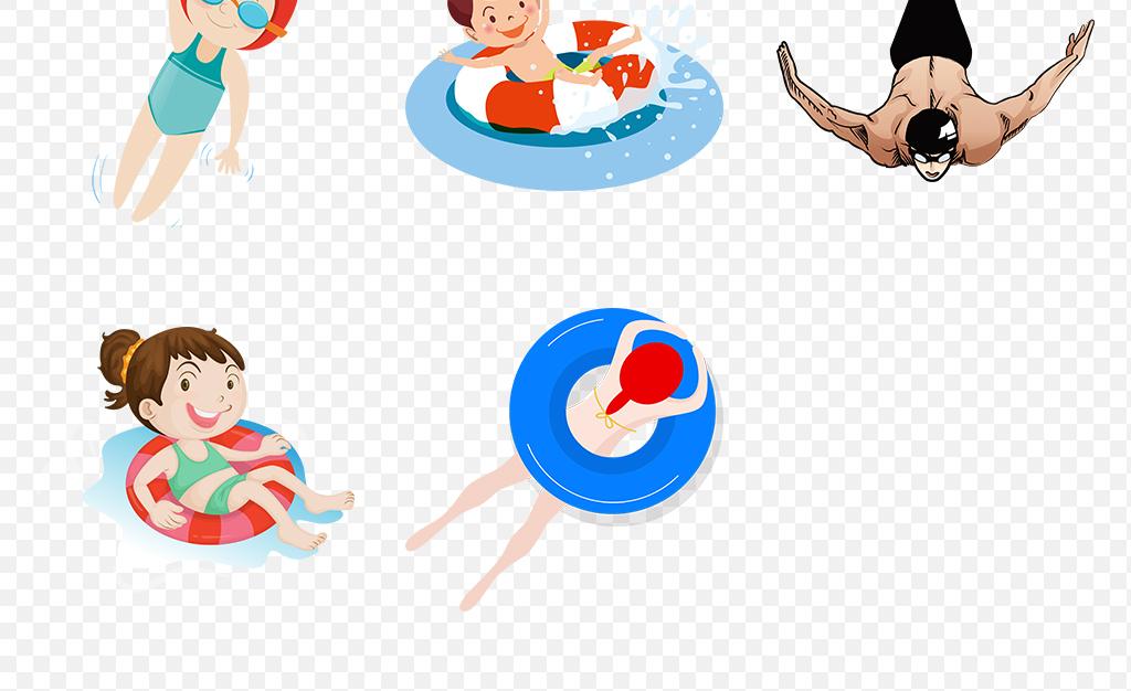 免抠元素 人物形象 帅哥 > 夏天卡通儿童游泳体育运动海报素材背景