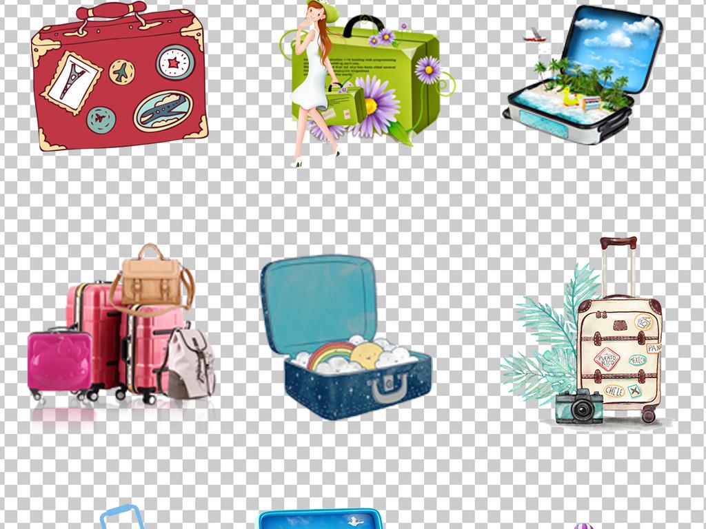 01067行李箱旅行箱提行李的美少女手绘卡通行李箱素材