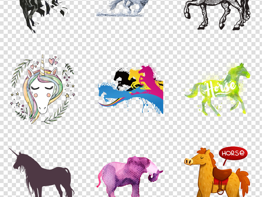 手绘动物卡通手绘飞翔动物独角兽水彩