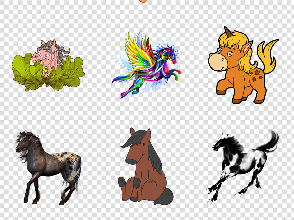 手绘动物卡通手绘飞翔动物独角兽水彩梦幻
