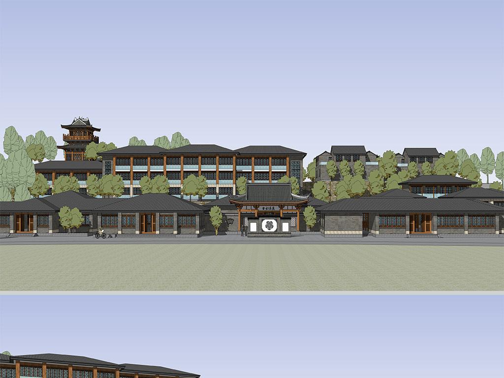 中式古典园林仿古酒店建筑设计