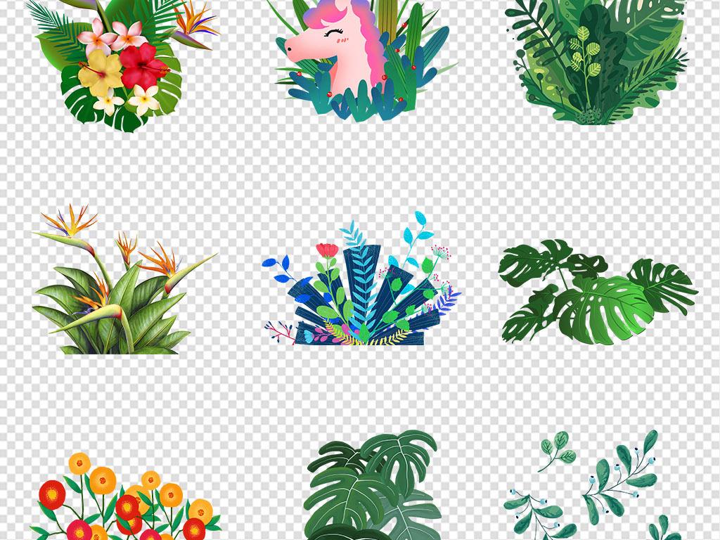 免抠元素 自然素材 树叶 > 手绘简约小清新植物叶子热带植物png素材