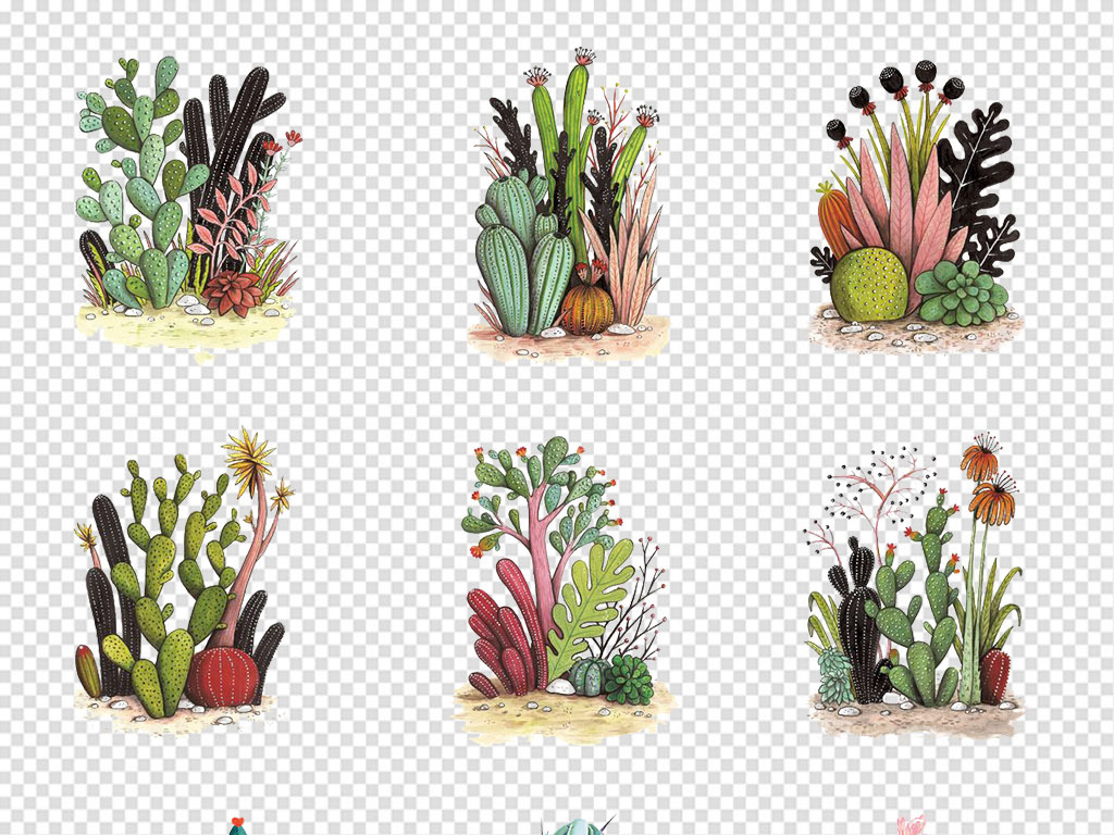 手绘水彩小清新仙人掌沙漠植物png素材