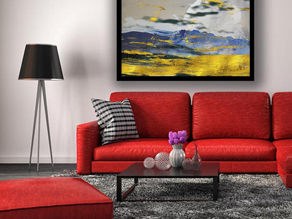 北欧客厅现代风格手绘油画装饰画