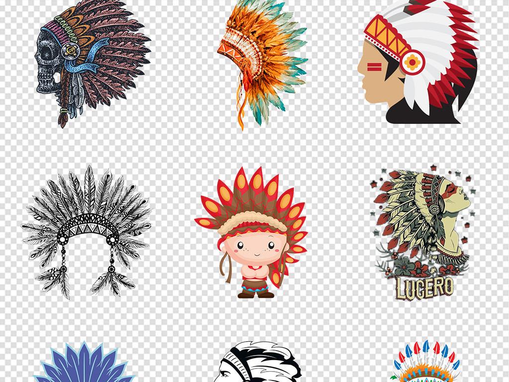 免抠元素 人物形象 古风/戏曲人物 > 卡通手绘彩色印第安人png免抠